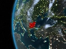 Bulgaria in red at night. Night map of Bulgaria as seen from space on planet Earth. 3D illustration. Elements of this image furnished by NASA Stock Photos