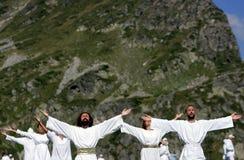 Bulgaria Rila Mountain White Brotherhood. Rila Mountain, Bulgaria - 19 August 2010. Members of the White Brotherhood perform a ritual dance called Paneurhythmy Royalty Free Stock Images
