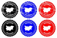 Bulgaria rubber stamp. Bulgaria - rubber stamp - vector, Bulgaria map pattern - sticker - black, blue and red Royalty Free Stock Photos