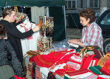Bulgaria. Sale of woven folk souvenirs at the Nestinar Games in the village of Bulgarians Royalty Free Stock Photo