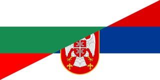 Bulgaria serbia flag. Bulgaria serbia neighbour countries half flag symbol Royalty Free Stock Photography