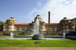 Bulgaria, Sofia. Sofia, Bulgaria - September 23, 2016: Unidentified people and fountain front of the public Central Mineral Bath Centralna Mineralna Bania stock images