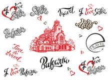 Bulgaria. Sofia. Set of elements for design. Lettering. The sketch of the Cathedral of Alexander Nevsky. Travel.Vector. vector illustration