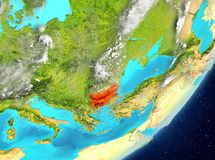 Bulgaria from space. Satellite view of Bulgaria highlighted in red on planet Earth with clouds. 3D illustration. Elements of this image furnished by NASA Royalty Free Stock Images