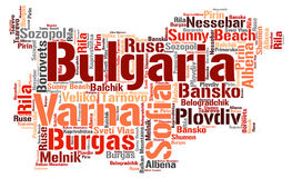 Bulgaria top travel destinations word cloud Stock Images