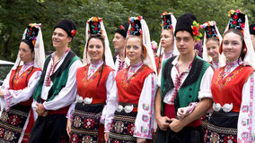 Bulgaria traditional folk group. SZCZYRK, POLAND–2010 AUGUST 1: Participants of the 47th Beskidy Highlanders Week of Culture (TKB), the biggest folk culture Stock Photos