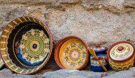Bulgaria, typical decorated bowls and vases Royalty Free Stock Photography