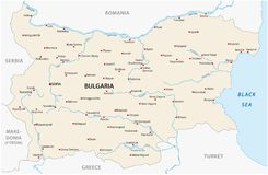 Bulgaria map with major cities and rivers Vector Illustration