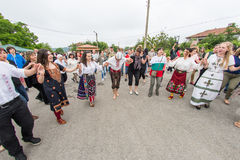 Bulgaria, village of Bulgarians. Barefoot nestinars on rehearsal of dancing on hot coals on Nestenar games Royalty Free Stock Image