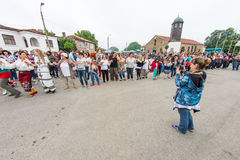 Bulgaria, village of Bulgarians. Common dance portrait on Nestenar games stock photo