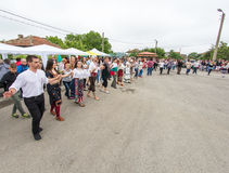 Bulgaria, village of Bulgarians. Evening dance on Nestenar games stock photos