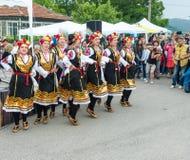 Bulgaria, village of Bulgarians. Female dance ensemble on Nestenar games royalty free stock images
