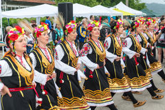 Bulgaria, village of Bulgarians. Female dance of roses on Nestenar games stock photos