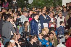 Bulgaria, village of Bulgarians. Spectators in anticipation of dancing on coals on Nestenar games Royalty Free Stock Photos