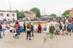 Bulgaria, village of Bulgarians. Waiting for hot coals on Nestenar games Royalty Free Stock Photo
