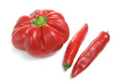 Bulgarian adn chili pepper over white Royalty Free Stock Photography