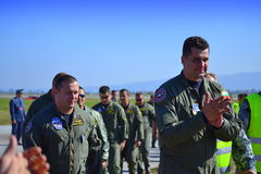Bulgarian Air Force aviators after airshow Royalty Free Stock Photography