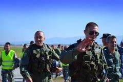Bulgarian Air Force aviators greet audience Stock Photos