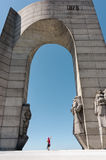 Bulgarian Arc of Triomphe at Balkan Mountain with observer in it Stock Images