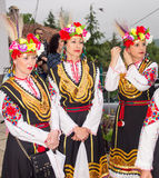 Bulgarian artists in folk costumes before the concert at the Nestinar Games in the village of Bulgarians Stock Image