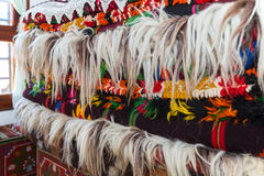 Bulgarian authentic woolen rugs, blankets and carpets Stock Photography