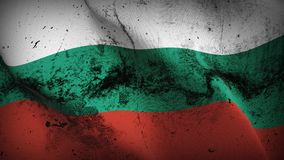 Bulgaria grunge dirty flag waving on wind. Bulgarian background fullscreen grease flag blowing on wind. Realistic filth fabric texture on windy day Stock Photography