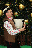 Bulgarian bagpiper. Christmas performance of bulgarian folklore formation in Mall Serdika -  24. 12. 2012, Sofia, Bulgaria Stock Photos