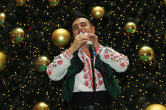 Bulgarian bagpiper. Christmas performance of bulgarian folklore formation in Mall Serdika -  24. 12. 2012, Sofia, Bulgaria Royalty Free Stock Images