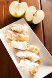Bulgarian banitza with lokum and apples Stock Photos