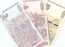 Bulgarian banknotes - 2, 5, 10 Bulgarian leva. Downside Royalty Free Stock Photos