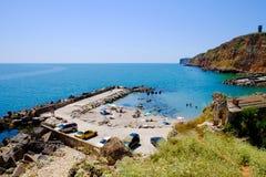 Bulgarian beach Bolata bay near Cape Kaliakra at the Black Sea. Bolata beach Bulgaria. Famous bay near Cape Kaliakra Stock Photography