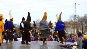 Bulgarian black mummers dance Royalty Free Stock Photo