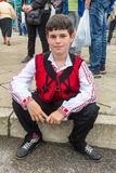 Bulgarian boy in national costume at the Nestinar Games in Bulgaria Stock Image