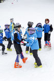 Bulgarian children form ski school team. Groups during the annual winter school holiday Stock Image