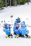 Bulgarian children form ski school team. Groups during the annual winter school holiday Royalty Free Stock Photos