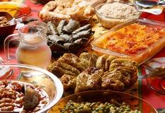 Bulgarian Christmas table setup. Traditional Bulgarian Christmas table setup with vegetarian dishes Stock Photos