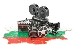 Bulgarian cinematography, film industry concept. 3D rendering. Isolated on white background Stock Images