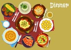 Bulgarian cuisine dinner icon for menu design Stock Photo