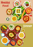 Bulgarian cuisine dishes icon set for menu design Stock Images