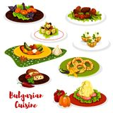 Bulgarian cuisine lunch menu icon with meat dish. Bulgarian cuisine healthy lunch dish icon. Tomato and pepper stew lecho, mashed potato with cheese and beef vector illustration