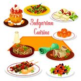 Bulgarian cuisine icon of lunch with dessert Stock Photo