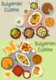 Bulgarian cuisine lunch dishes icon set design. Bulgarian cuisine lunch dishes icon set of meat and fish stew with tomato and bean, stuffed pepper with cheese Royalty Free Stock Images