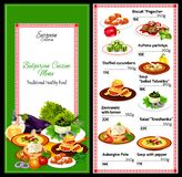 Bulgarian cuisine menu, salad and soup dishes. Cuisine of Bulgaria, vector restaurant menu with soups and salads. Biscuit and kufteta yachniya, stuffed cucumbers vector illustration