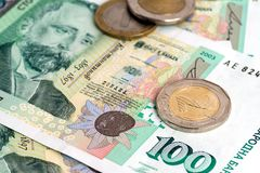Bulgarian currency BGN - banknotes and coins Stock Photos