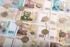 Bulgarian currency BGN - lev and coins Stock Image