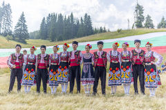 Bulgarian dancers in folklore costumes Stock Photo
