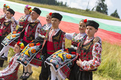 Bulgarian dancers in folklore costumes Royalty Free Stock Photography