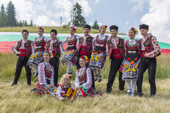 Bulgarian dancers in folklore costumes Royalty Free Stock Images