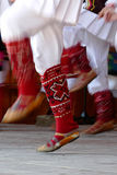 Bulgarian dancers legs in a traditional dance Stock Image