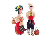 Bulgarian dolls. Pair of Bulgarian dolls in national costumes. Isolated on white Stock Photos